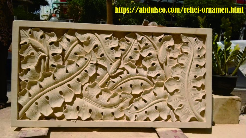 Jual Relief Ornamen, Loster & Roster Batu Alam Jepara Ukiran Dinding Motif Antorium