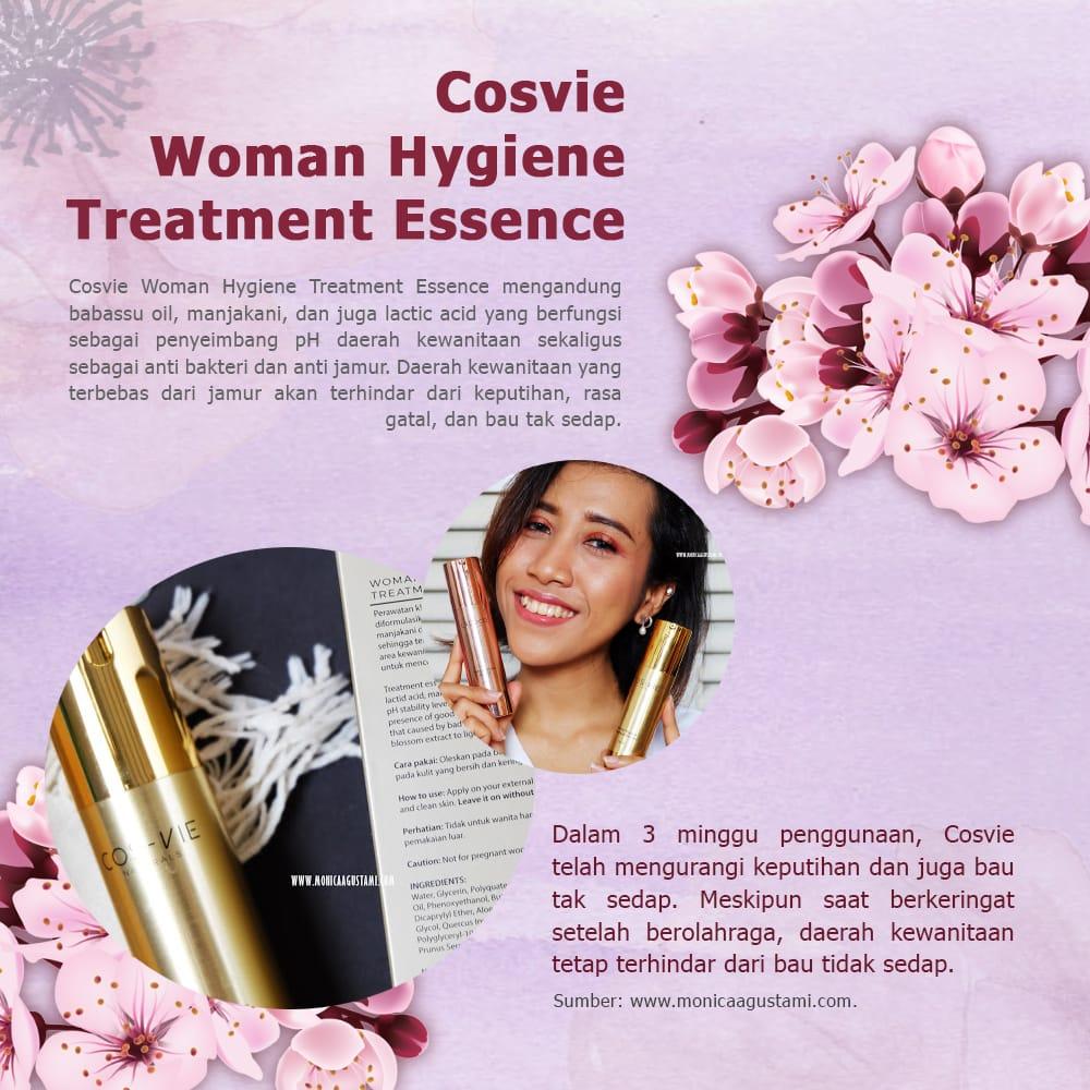 Woman Hygiene Treatment Essence berfungsi sebagai penyeimbang pH daerah kewanitaan sekaligus anti bakteri dan anti jamur